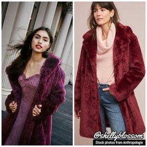 NWT Tayberry Faux Fur Coat Burgundy by ett:twa